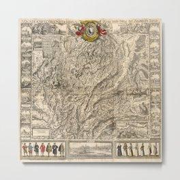 Map Of Switzerland 1750 Metal Print