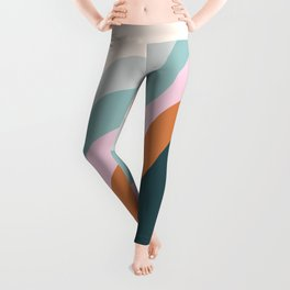 Abstract Diagonal Waves in Teal, Terracotta, and Pink Leggings