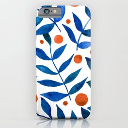 Watercolor berries and branches - blue and orange iPhone Case