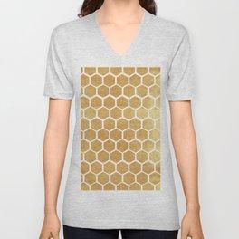 Gold honey bee Unisex V-Neck