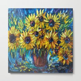 SUNFLOWERS in a Vase — Palette knife painting by OLena Art Metal Print