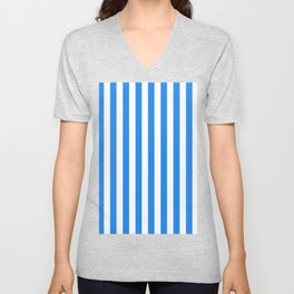 Narrow Vertical Stripes - White and Dodger Blue Unisex V-Neck