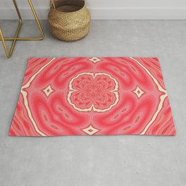 Star White And Red Clover Kaleidoscope Pattern Rug