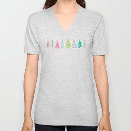 Scandinavian Christmas Trees Pattern - Pink Green Blue Unisex V-Neck