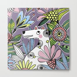 Fifi in the Flower Bench Metal Print