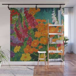 Floral Garden - Summer Marigolds & Bellflowers Still Life Painting by Emil Nolde Wall Mural