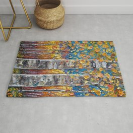 Colorful Autumn Aspen Trees  Rug
