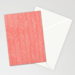 Living Coral Herringbone Happiness Stationery Cards