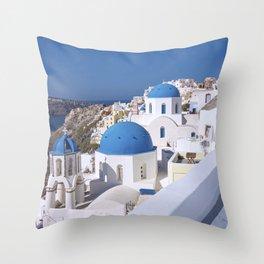 Oia Village in Santorini Throw Pillow