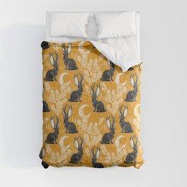 Jackalope - marigold and black  Comforters