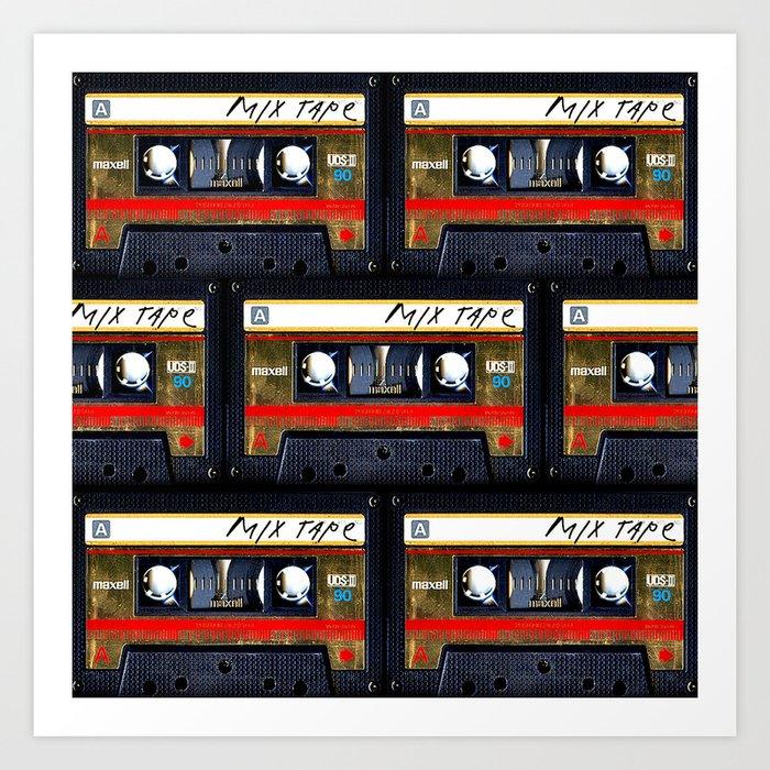 Retro classic vintage gold mix cassette tape Kunstdrucke