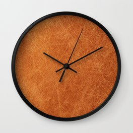 Farmhouse Style Original Camel Leather Oriental Design. Wall Clock