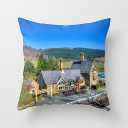 Carrog Railway Station Throw Pillow