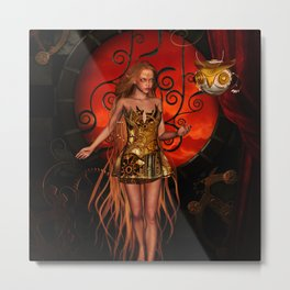 Steampunk women with steampunk owl Metal Print