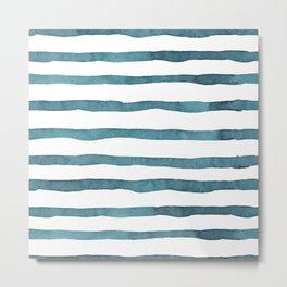 Slate Blue Rugby Stripes Metal Print