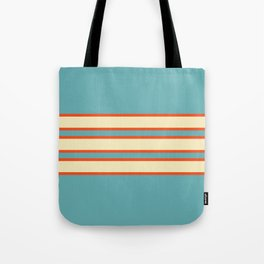 70s Style Blue Beige Orange Retro Stripes Radha Tote Bag