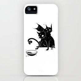 Creepy Cute Three Headed Black Cat Artwork iPhone Case