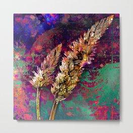 359 17 Gold Wheat Stalk on Pink and Aqua Metal Print