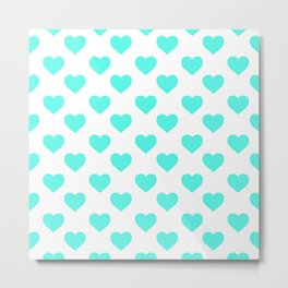 Hearts (Turquoise & White Pattern) Metal Print