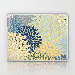 Floral Print, Yellow, Gray, Blue, Teal Laptop & iPad Skin