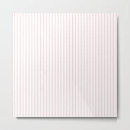 Light Millennial Pink Pastel Color Mattress Ticking Stripes Metal Print