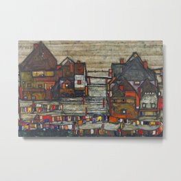 Village Houses with Laundry colorful landscape painting by Egon Schiele Metal Print