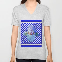 CONTEMPORARY BLUE & WHITE PATTERN IRIS PATTERN Unisex V-Neck