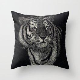 Scratchboard Tiger Throw Pillow