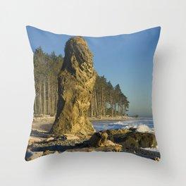 Sea Stack on Ruby Beach in Washington State Throw Pillow