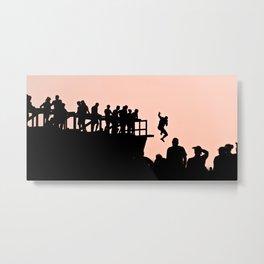 Pink Sky - Tough Mudders Jumping Silhouette Metal Print