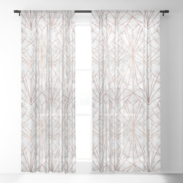Art Deco Marble & Copper - Large Scale Sheer Curtain