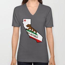 California Bear Flag (vintage distressed design) Unisex V-Neck