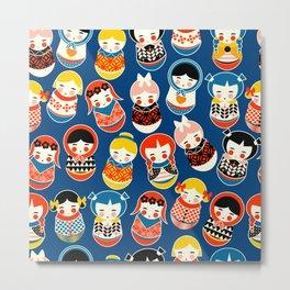 Babushka dolls vibrant pattern Metal Print