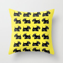 Scottie Dogs Yellow and Black Pattern Throw Pillow