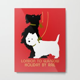 Retro London and Glasgow by train, dogs terriers Metal Print