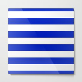Cobalt Blue and White Wide Cabana Tent Stripe Metal Print