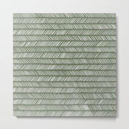 Fir Tree Green Small Herringbone Drawing Metal Print