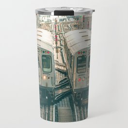 Two El Trains Above Wabash in Chicago Train Subway Elevated Travel Mug