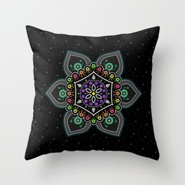 Alien Dudes and Dudettes Mandala Throw Pillow