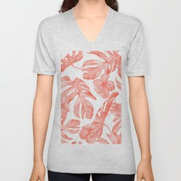 Tropical Hibiscus and Palm Leaves Dark Coral White Unisex V-Neck