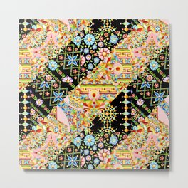 Crazy Patchwork Triangles Metal Print