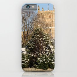 Tewkesbury Abbey in the Snow by Lynn Ede iPhone Case