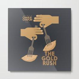 The gold rush, movie illustration, Charlie Chaplin film, vintage poster, Charlot, b&w cinema Metal Print