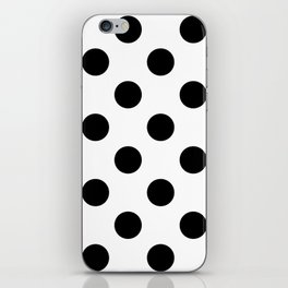Large Polka Dots - Black on White iPhone Skin