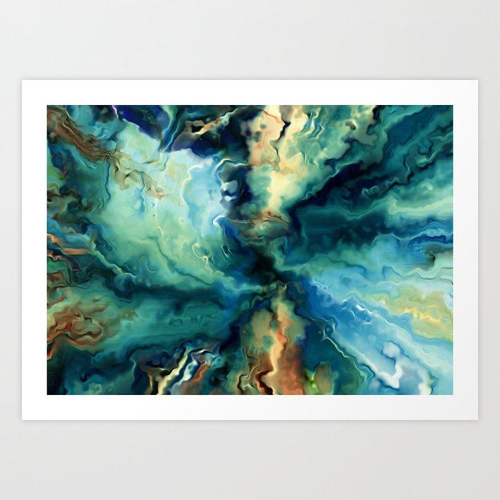 Marbled Ocean Abstract, Navy, Blue, Teal, Green Kunstdrucke