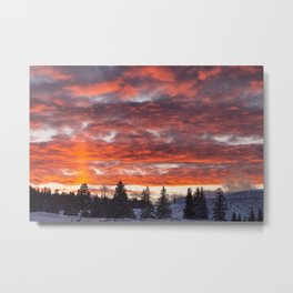 Lamar Valley Sunset - Yellowstone National Park Metal Print
