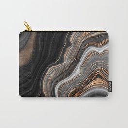 Elegant black marble with gold and copper veins Carry-All Pouch