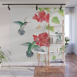 Hummingbirds and Hibiscus  Wall Mural