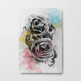 Floral Series: Rosa Chinensis (realistic roses drawing) Metal Print