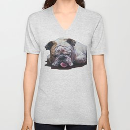 ENGLISH BULLDOG dog portrait painting by L.A.Shepard fine art Unisex V-Neck